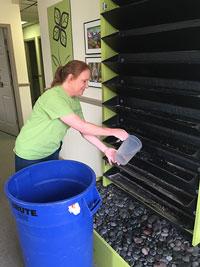 Christy adding water