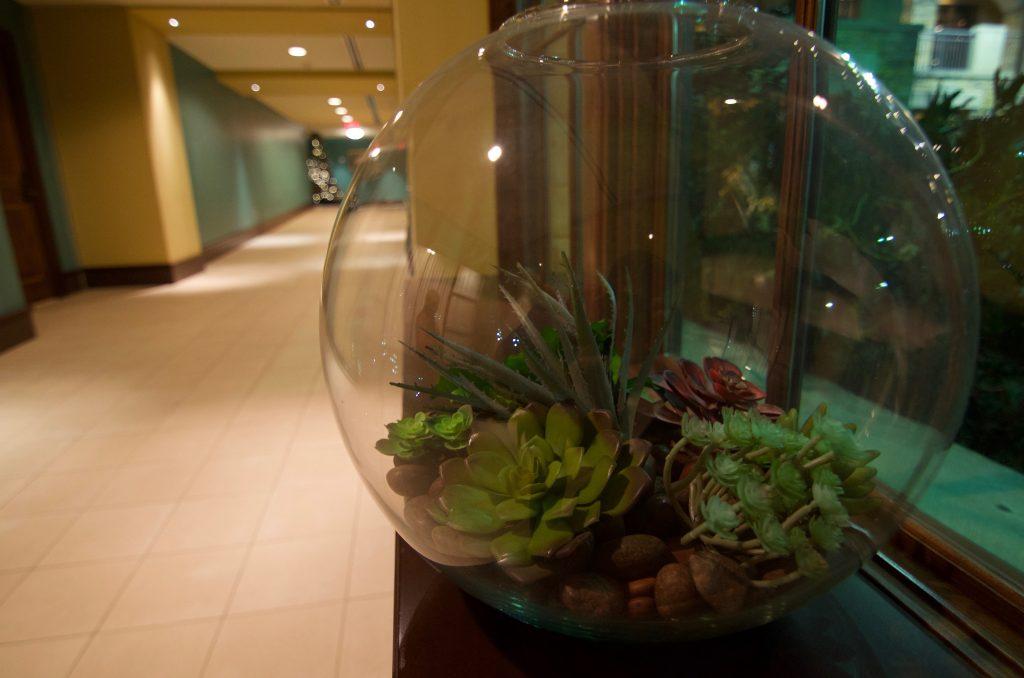 replica succulent in terrrarium